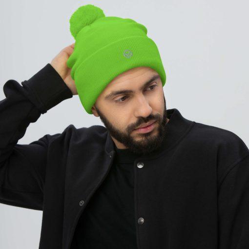 Green Wooly Pom-Pom Beanie