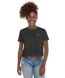 Gray Cotton Crop T-Shirt