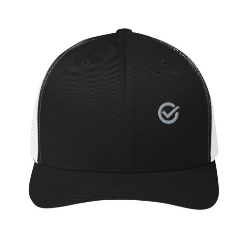 Black White Cotton Embroidered Trucker Mesh Cap