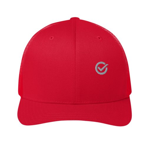 Red Cotton Embroidered Trucker Mesh Cap