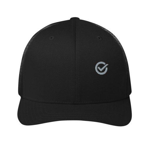 Black Cotton Embroidered Trucker Mesh Cap