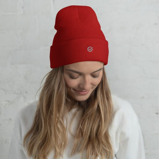 Red Wooly Cuffed Beanie