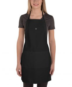 Embroidered Black Cotton Apron
