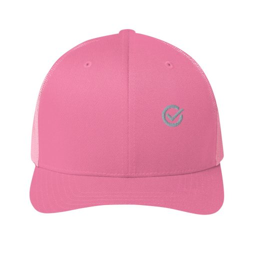 Pink Cotton Embroidered Trucker Mesh Cap