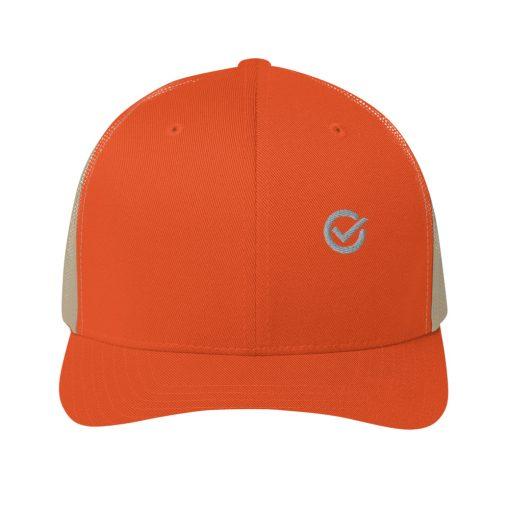 Orange Cotton Embroidered Trucker Mesh Cap