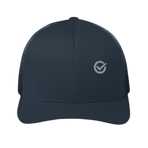 Navy Cotton Embroidered Trucker Mesh Cap