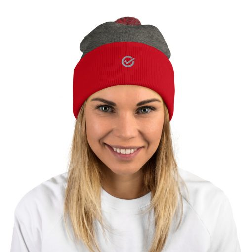 Red Gray Wooly Pom-Pom Beanie