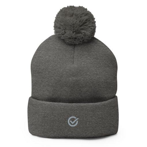 Dark Gray Wooly Pom-Pom Beanie