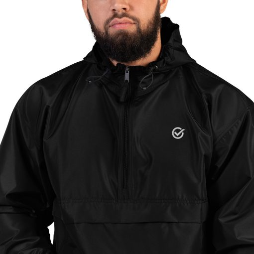 Black Embroidered Just Made Right Packable Jacket