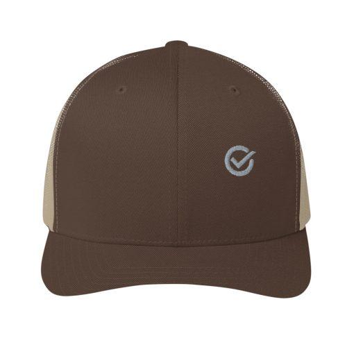 Brown Cotton Embroidered Trucker Mesh Cap