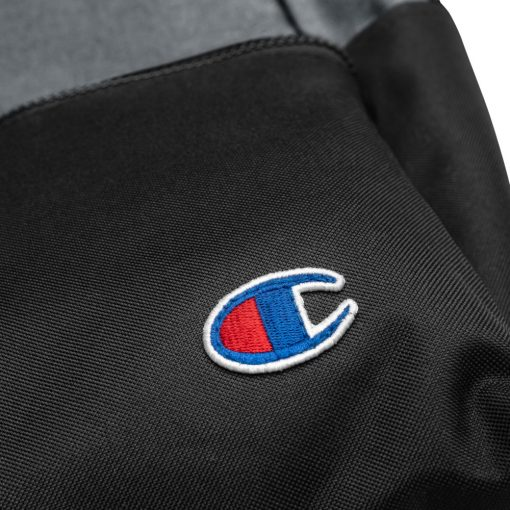 Black and gray Embroidered Champion Backpack