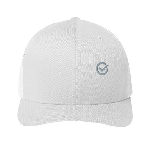White Cotton Embroidered Trucker Mesh Cap