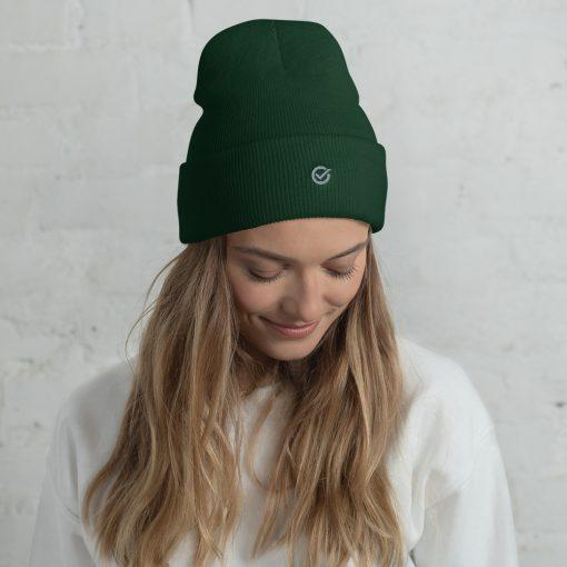 Green Wooly Cuffed Beanie