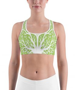Sport Bra in Grass with Tree of Life design