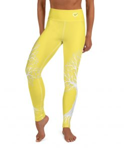 Yoga Premium Leggings, with Tree of Life Design in grass Yellow and, hidden pocket