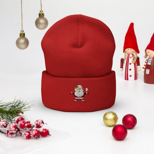 Santa Embroidered Wooly Beanie