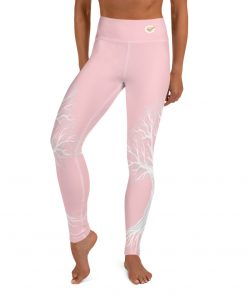 Yoga Premium Leggings, with Tree of Life Design in Pink and, hidden pocket