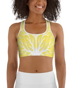 Sport Bra in Yellow with Tree of Life design